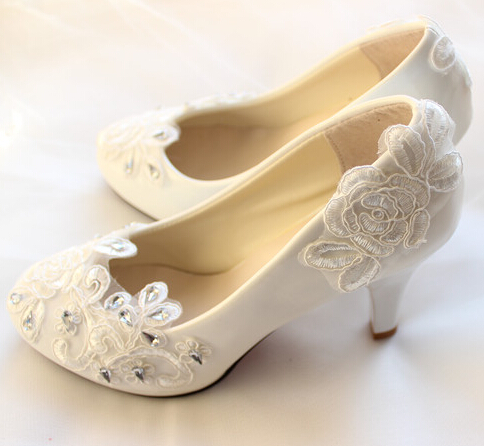 ФОТО Big discount! Fashion white ivory lace wedding shoes for woman TG224 100% real photos handmade low high heel bridal shoes