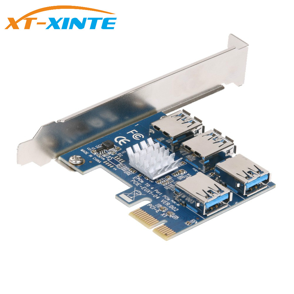PCIe 1 to 4 PCI-express 16X slots Riser Card PCI-E 1X to External 4 PCI-e USB 3.0 Adapter Multiplier Card for Bitcoin Miner