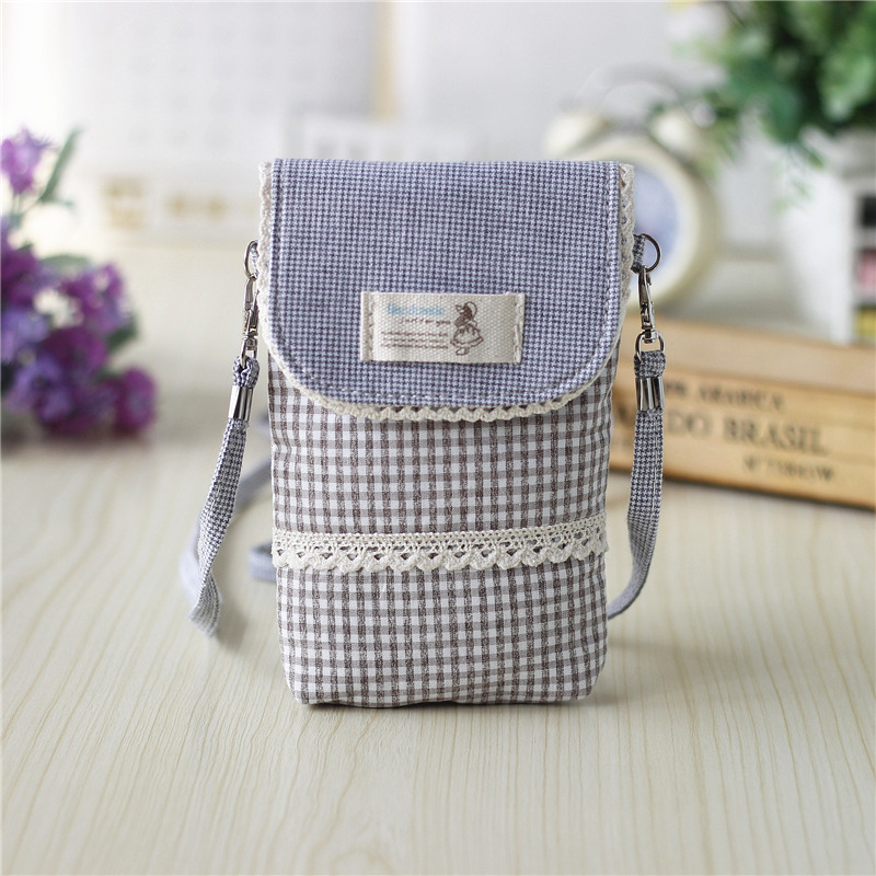 Cotton plaid womens coin wallet change purse ladies cross-body handbag small phone pouch money bag carteira feminina for girls
