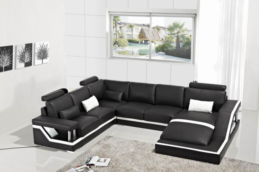 Sofas For Living Room Modern Sofa Set With Sectional Furniture U Shape Corner Black Color