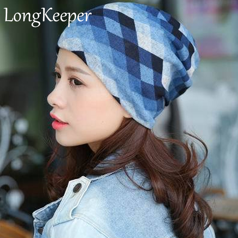 Autumn Winter Casual Brand Hats for Women Plaid Lady Caps Letter Printed Pile Cap Female Beanies Wholesale and Retail female caps for autumn