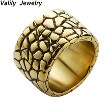 EdgLifU Gold Rings Band Men Titanium Silver Black Ring Round Stainless Steel Vintage jewelry For Man Drop Shipping