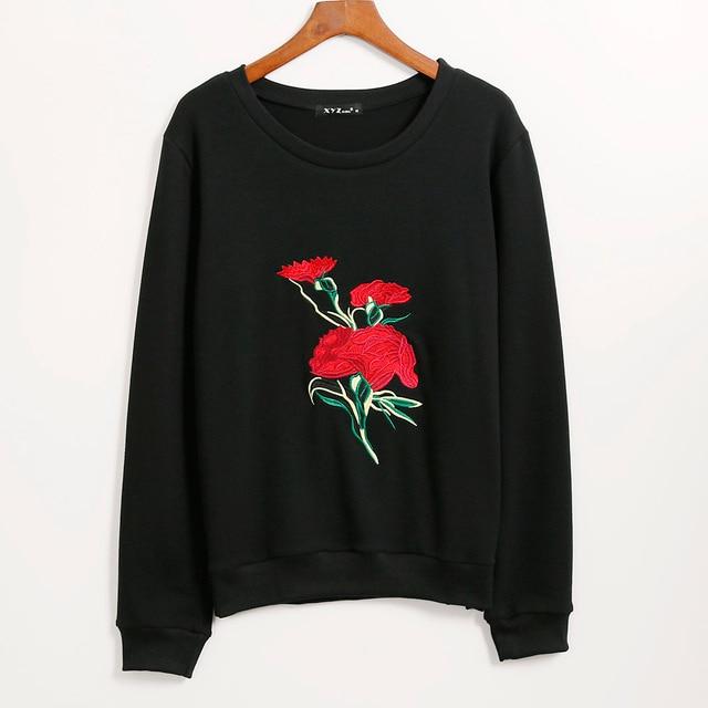 2016 Free Shipping New Hoodies Sweatshirt Women Embroidered Flower Hoodie  Tracksuit Women Long Tops Woman