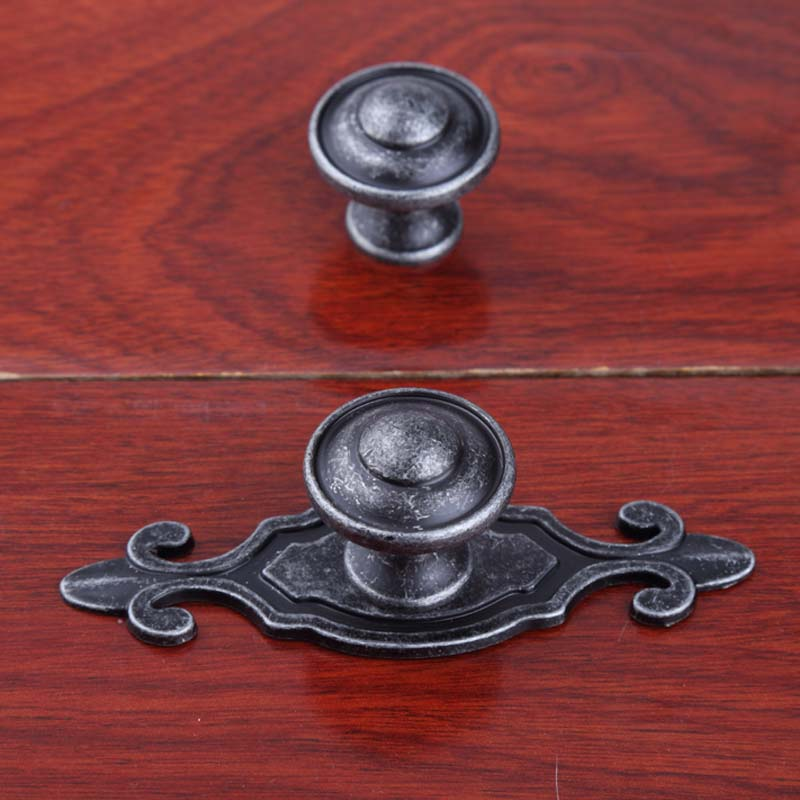 American retro distress style knobs with backplane furniture handles antique iron drawer shoe cabinet dresser knobs pull handle damsel in distress
