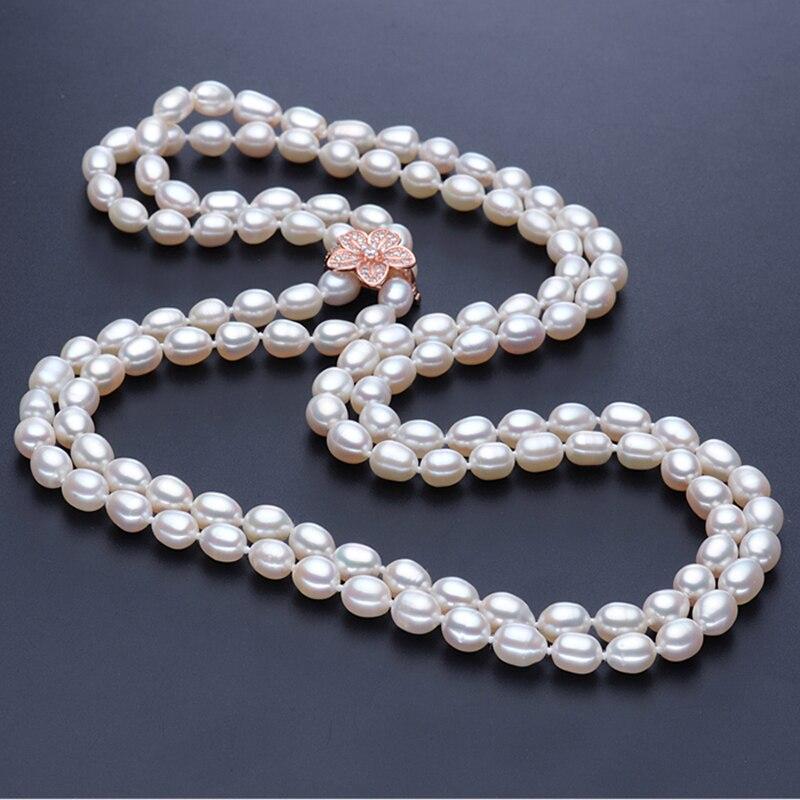 RUNZHUQIYUAN 2017 100% perle d'eau douce naturelle long collier véritable perle pour les femmes pour fille meilleurs cadeaux bijoux de mariage