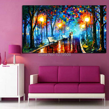 100%Handpainted Night Walking Modern Art Hang Oil Painting On Canvas Wall Pictures For Home Decor Beautiful Craft