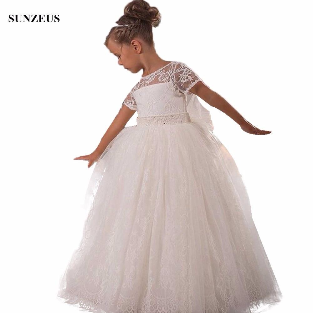 Ball Gown Shortv Sleeve Full Lace   Flower     Girl     Dress   For Weddings Custom-made Communion   Dress   For Children Free Shipping FLG086