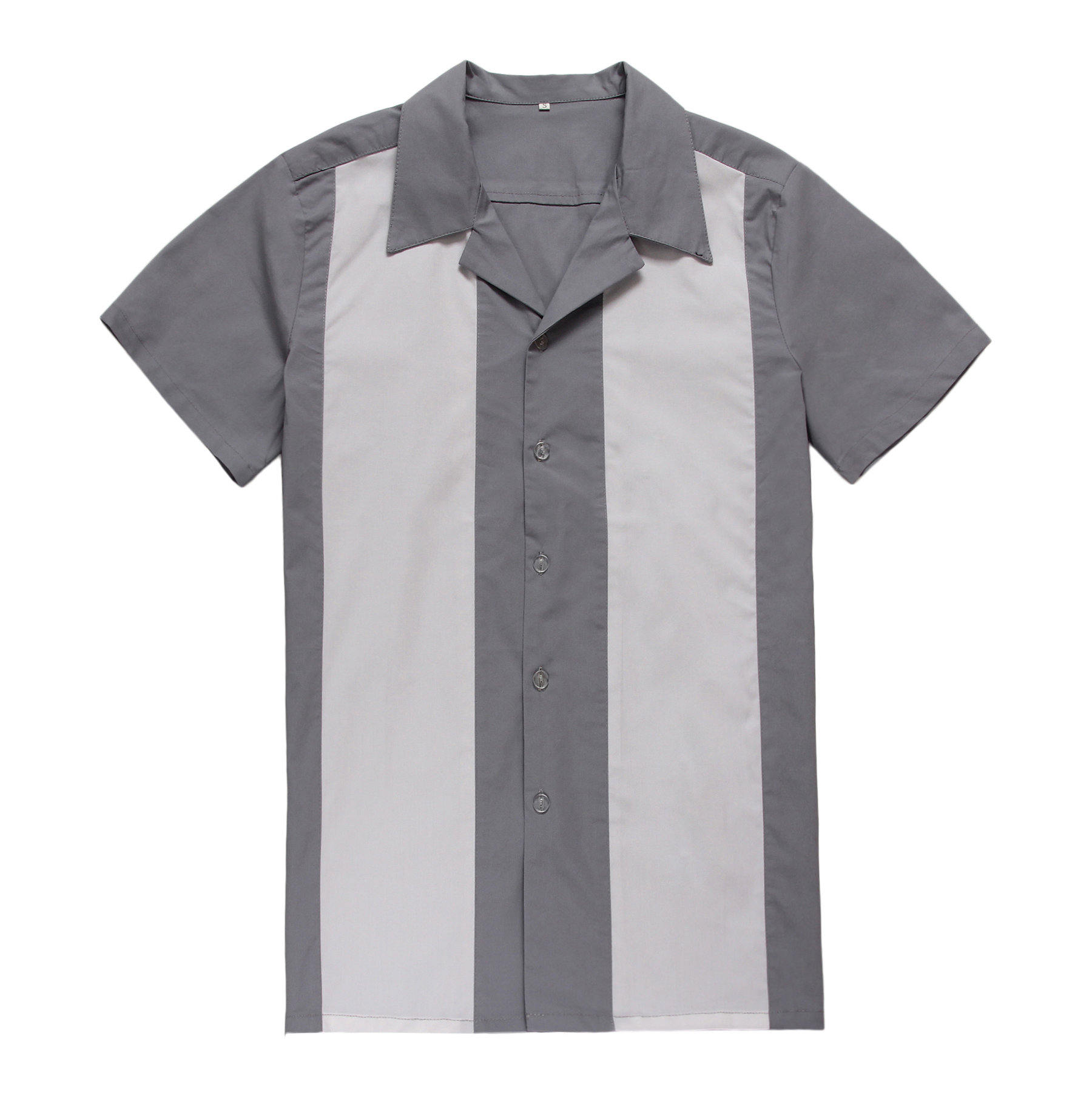 2015 new real camisa solid polo shirt mens fashion cool design short - Rockabilly Clothing Short Sleeve Button Gray White Cotton Uk Designer Casual Shirts For Men China