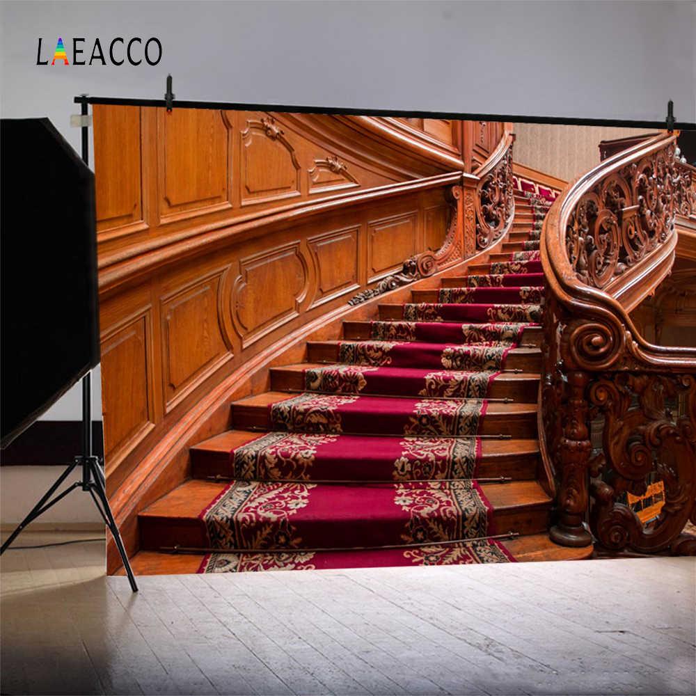 Fondos fotográficos personalizados para estudio fotográfico con diseño de alfombra roja de madera de escalera antigua de Laeacco