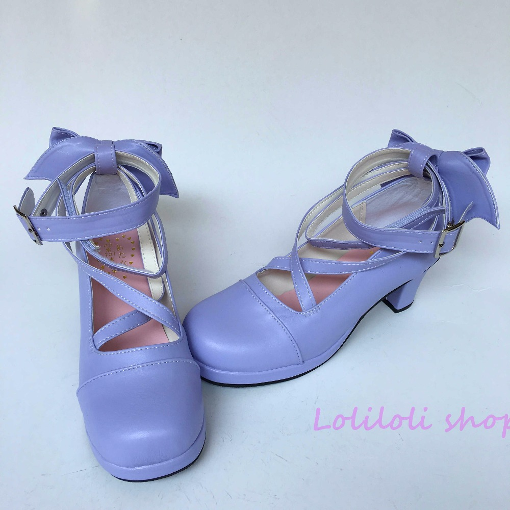 Princess sweet lolita shoes Lolita style Japanese design customized shoes cross strap purple bow rough heel shoes an1278