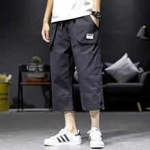 Safari Style Calf-Length Pants Straight Solid Color Mens Elastic Waist Large Size Black Khaki