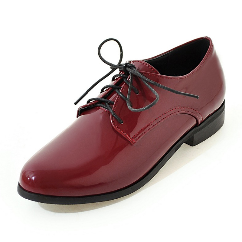 Chaussures Cuir Mocassins Dames Plates Appartements Derbies Sexy Lacets En Verni Femme Pzilae Femmes À Oxford Black Casual red Taille silver Grande FzxXqnw
