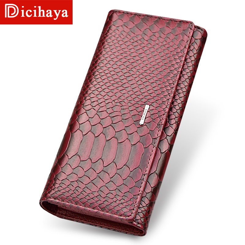 DICIHAYA High Quality Leather Long Large Capacity Women Wallets Designer Brand Clutch Purse Serpentine Wallet Card Holder 505911