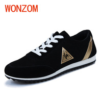 WONZOM Breathable Mesh Casual Men Flats Shoes Comfortable Light Lace Up Male Shoes Fashion Animal Print