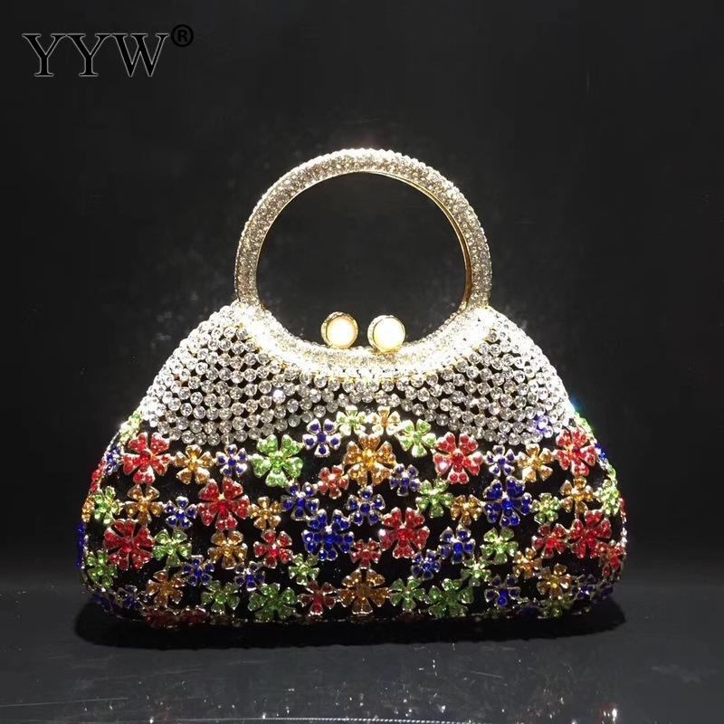 Sacs de soirée en or et pochettes pour femmes cristal poignée supérieure sacs à main perlée strass sac à main de mariage sac à main rouge-in Embrayages from Baggages et sacs    3