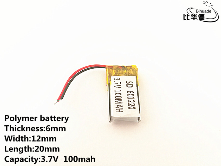 10pcs/lot <font><b>3.7V</b></font>,<font><b>100mAH</b></font>,601220 Polymer <font><b>lithium</b></font> ion / Li-ion <font><b>battery</b></font> for TOY,POWER BANK,GPS,mp3,mp4 image