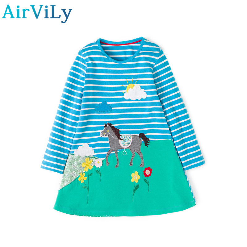 2017 Rushed Sale Full Print Baby Girl Dresses Long Sleeve Princess Girls Cartoon Deer Clothes Children Kids Pattern Clothing kids baby girls long sleeve lace dresses one piece dots deer cotton girl dresse toddlers clothes