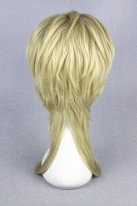 Image 4 - 45 Cm Blonde Medium Kapsel Jojo S Bizarre Adventure Dio Brando Cosplay Pruik Hittebestendige Synthetische Haar Pruiken + Pruik cap
