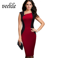 VEEKLE New 2017 Summer Woman Retro Vintage Bodycon Lace Patchwork Black Red Sleeveless Evening Party Short Dress Mother Of Bride