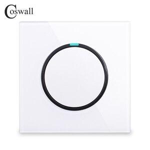Image 1 - Coswall 1 комплект 1 способ случайный щелчок вкл/выкл настенный выключатель света светодиодный индикатор Хрустальная стеклянная панель Белый Черный Серый Золотой серии R11