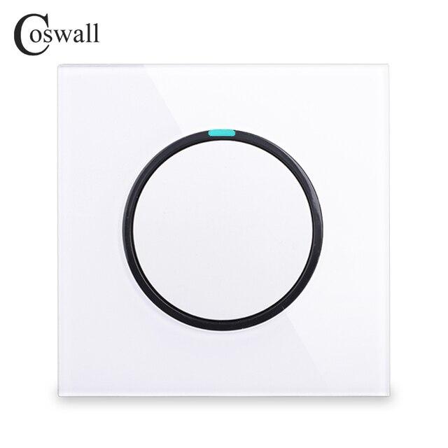 Coswall 1 комплект 1 способ случайный щелчок вкл/выкл настенный выключатель света светодиодный индикатор Хрустальная стеклянная панель Белый Черный Серый Золотой серии R11