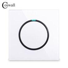 Coswall 1 Gang 1 Way 무작위 클릭 On / Off 벽 조명 스위치 LED 표시기 크리스탈 유리 패널 화이트 블랙 그레이 골드 R11 시리즈
