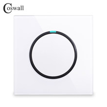 Coswall 2018 New Arrival 1 Gang 1 Way Random Click On / Off Wall Light Switch With LED Indicator Crystal Glass Panel()
