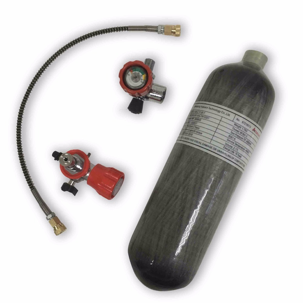 AC1217101 Acecare 2.17L 4500Psi Carbon Fiber Cylinder For Air Rifle Gun Hunting Paintball Tank Gauged Red Valve Filling Station