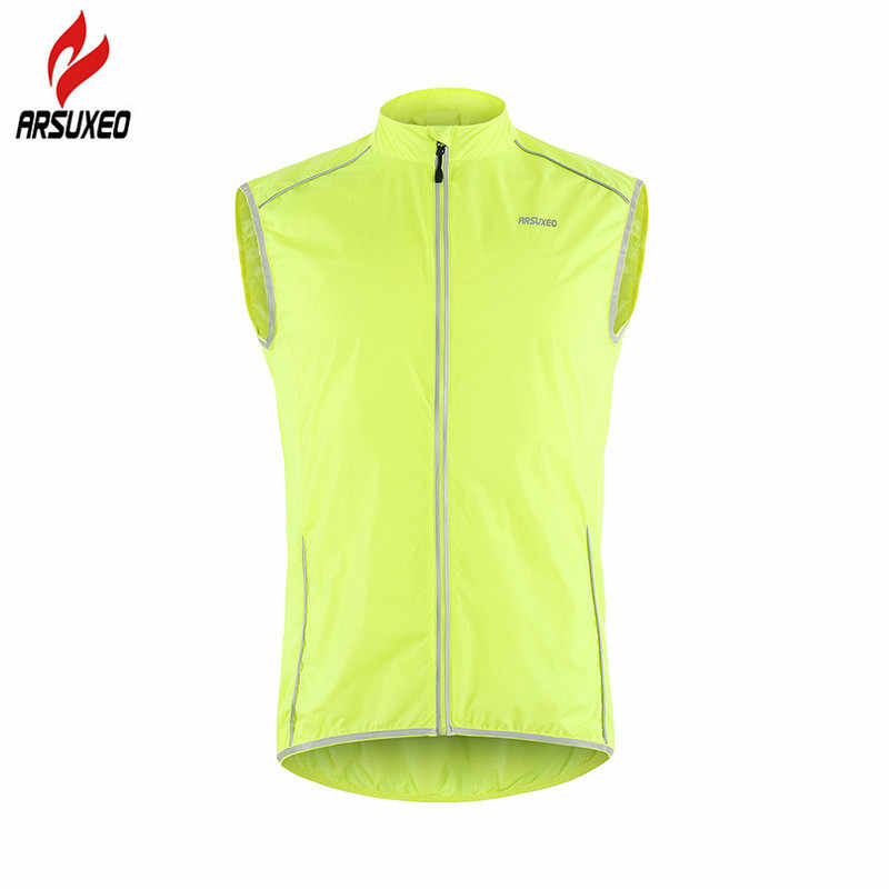 ARSUXEO Men Women Cycling Vest Reflective Bicycle Windproof Outdoor Sports Running Vest Sleeveless Bike MTB Windstopper Light