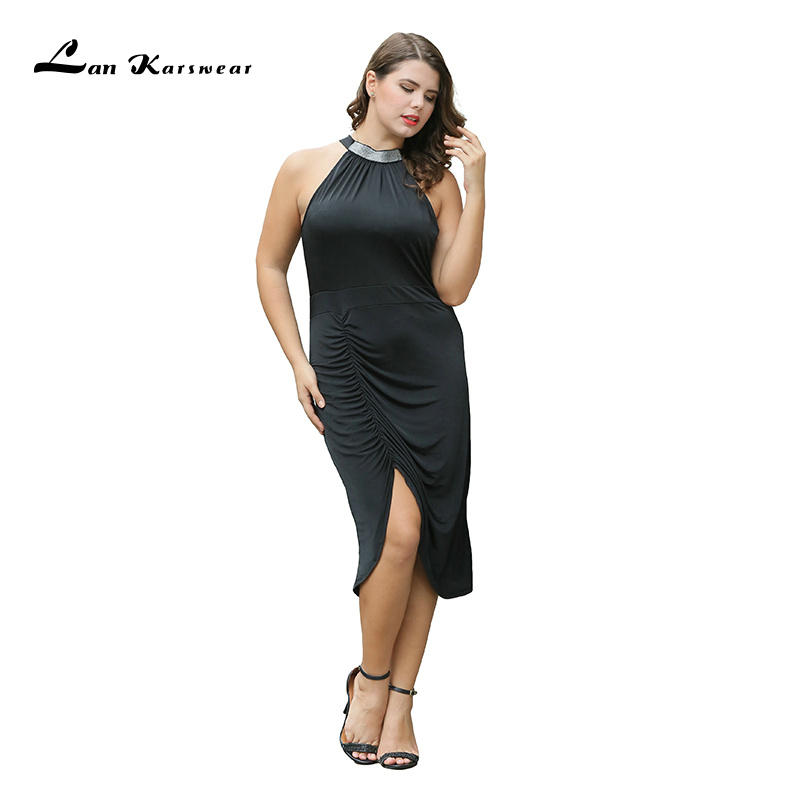 Lan Karswear Fashion 2018 Bodycon Dress Summer Sleeveless Sexy Bandage Plus Size Women Clothing Party Dresses Big Size Vestidos
