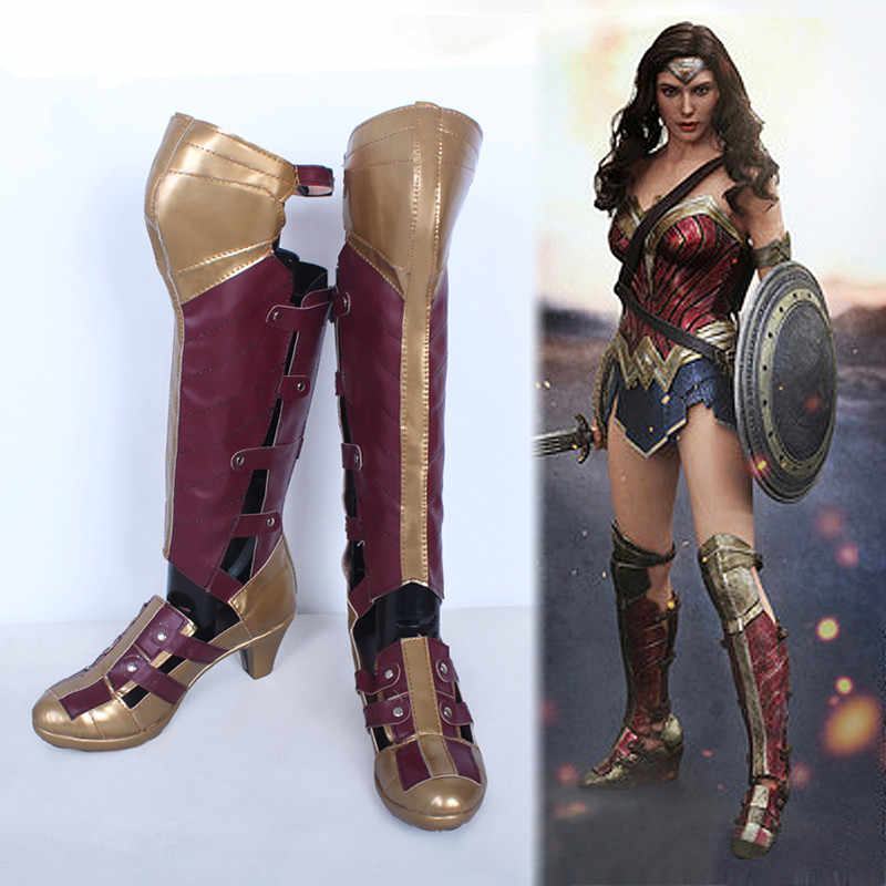 Nouveau film Batman v Superman Wonder femme Diana Prince Cosplay bottes Halloween Cosplay chaussures pour femmes taille 35-42