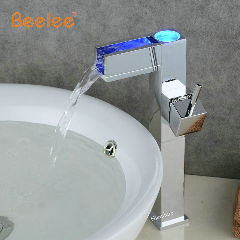 Waterfall Type Bathroom Faucets: Beelee BL0616AF LED Tall Style Chrome Brass Waterfall