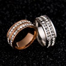 Rows titanium rhinestones womens mens double wedding ring steel jewelry fashion