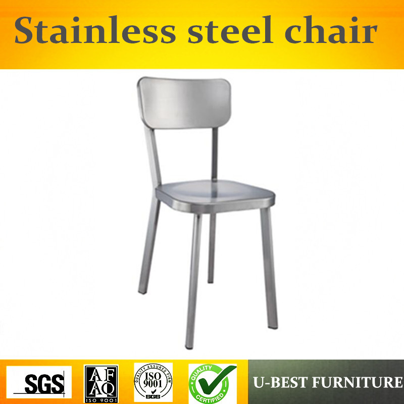 Free shipping U-BEST Simple Designed Brushed Finish 201# Stainless Steel Dining Chair Side Chair free shipping blue vintage side chair