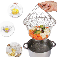 купить 1 Pcs Stainless Steel Collapsible Fryer Fried Chicken Nuggets Practical Small Fried Basket Colander Filter дешево