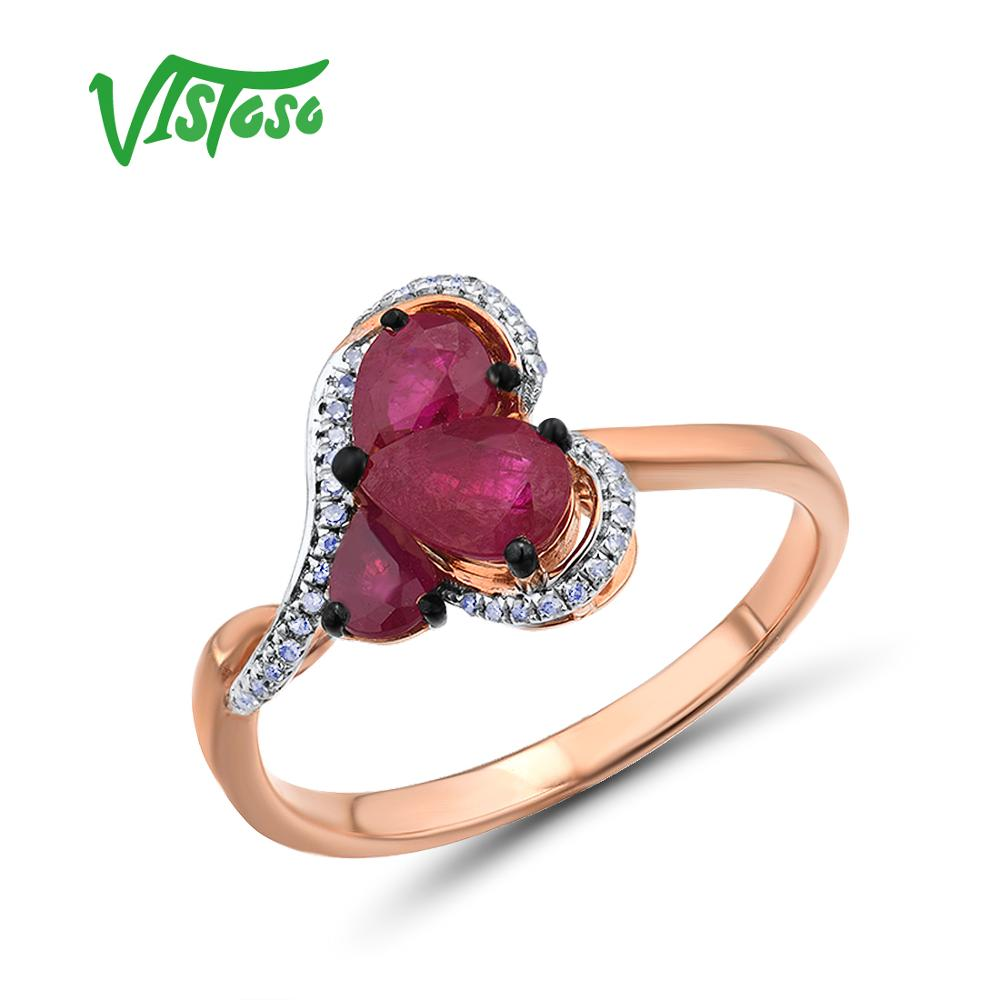 VISTOSO Gold Rings For Women Genuine 14K 585 Rose Gold Ring Heart Ring Sparkling Red Ruby Diamond Trendy Wedding Fine Jewelry