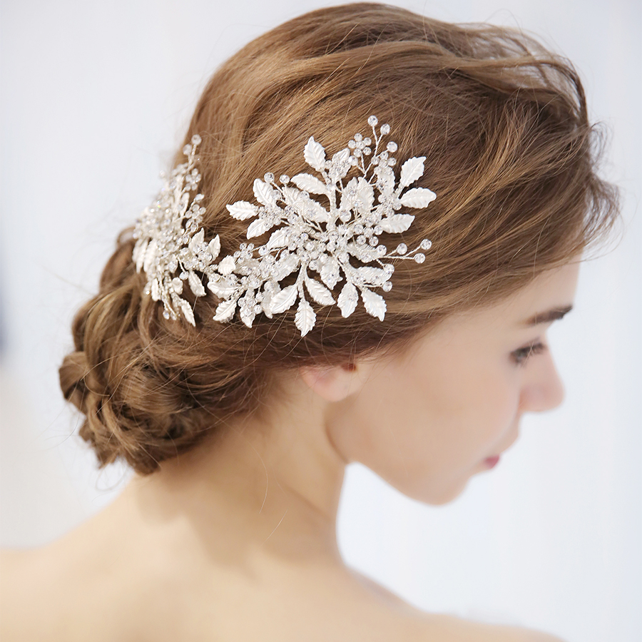 1pcs/lots Hair Ornament For Wedding Hairbands With Rhinestone Crystal Flower Crown Accessories Barrette Pearl Hair Stick Jewelry tiny rose embellished floral rhinestone barrette