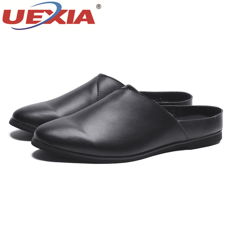 3c4c56732aa7 UEXIA Handmade leather Shoes Men Slippers Summer Half drag Loafers beach  shoes Male Slides Flats Soft Lazy Breathable Footwear