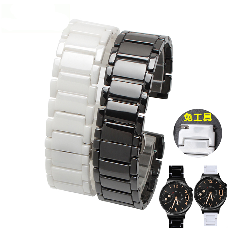 18mm High quality Ceramic watchbands black white Strap For huawei with butterfly clasp lug End watch accessories for samsung gear s2 classic black white ceramic bracelet quality watchband 20mm butterfly clasp