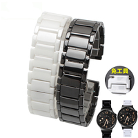 18mm High Quality Ceramic Watchbands Black White Strap For Huawei With Butterfly Clasp Lug End