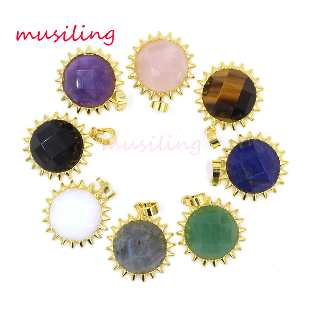US $19 35 25% OFF|The Sun Crystal Pendants Natural Stone Charms Reiki  Pendulum Accessories Wicca Witch Mens Amulet Jewelry Wholesale 10pcs-in  Pendants