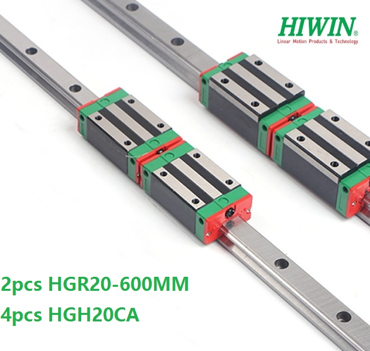 2pcs original Hiwin linear guide rail HGR20 -L 600mm + 4pcs HGH20CA Or HGW20CA Linear Carriage Block For CNC HGW20CC