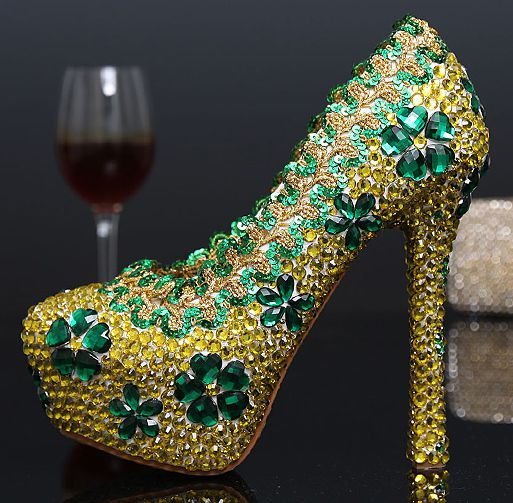 ФОТО 2017 newest design gold wedding shoes for woman TG344 crystals high heeled luxury patchwork brides pumps shoes