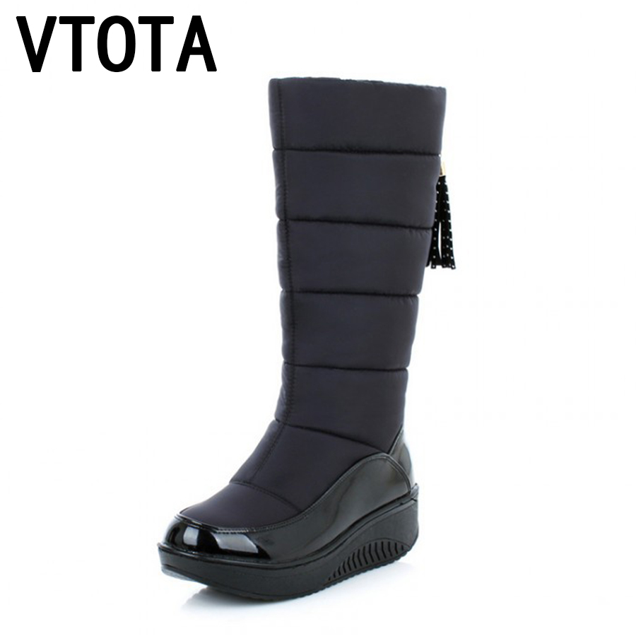 VTOTA Snow Boots Winter Platform Fur Heels Leather Women