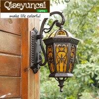 Qiseyuncai Европейский стиль водонепроницаемый открытый светодиодный алюминиевый настенный светильник 50x30 см двор лампы