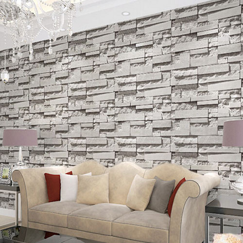 ФОТО Brick stone wall paper 3D PVC Wallpapers Modern Living Room Bedroom Home Decor Grey Vinyl Mural Papel de parede Roll