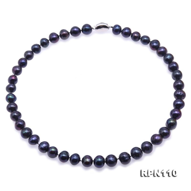 Genuine 10-11mm Black Natural Freshwater Akoya Baroque Pearl Chain Bracelet