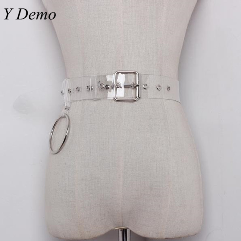 Fashion Silver Ring Pendant PVC Transparent Belt Woman Casual Accessary