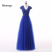 Menoqo New arrival elegant party dress evening dresses Royal blue Vestido de Festa appliques beading long gown cap sleeves