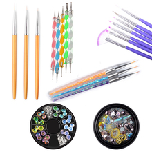 цена на Nail Art Brush UV Gel Polish Painting Drawing Brushes Pen Nail Decoration Rhinestones Dotting Kit Clean Brush Manicure Tools Set